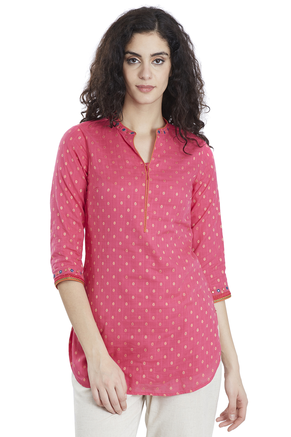 a4a50a1f8e1 Buy Online Fuchsia Straight Cotton Kurti for Women   Girls at Best Prices  in Biba India-FOLKREP1459