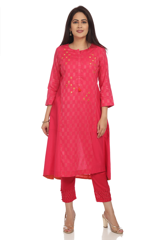 2b568e7f94c Buy Online Fuchsia A Line Cotton Kurta for Women   Girls at Best ...