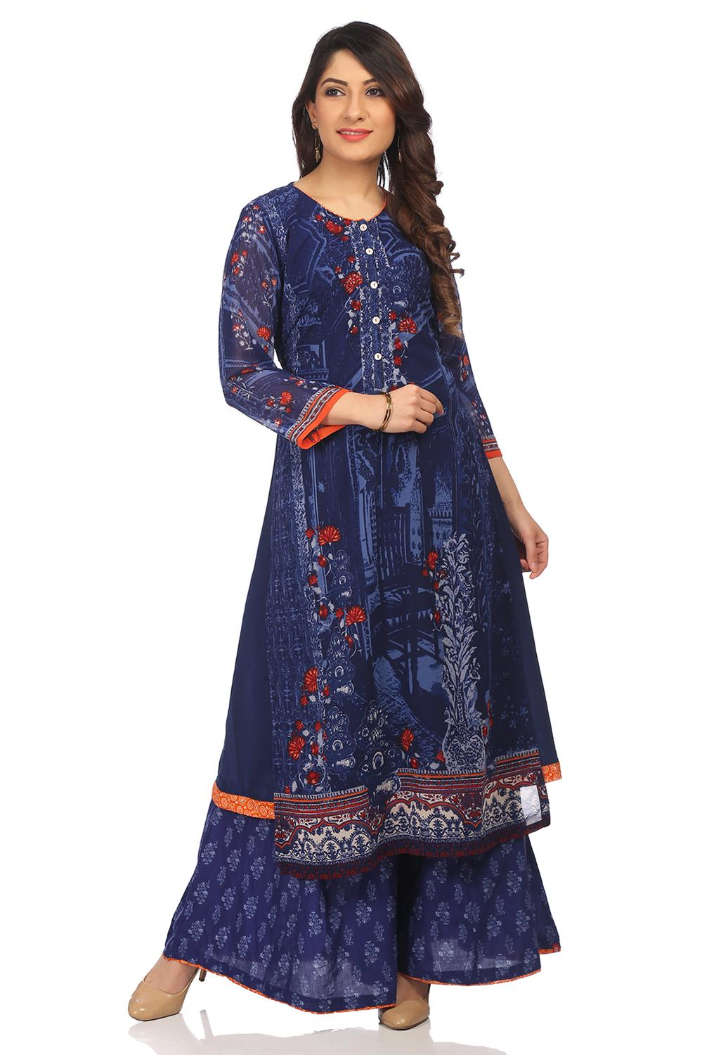 Indigo Straight Poly Cotton Kurta - INDIGO13653SS1