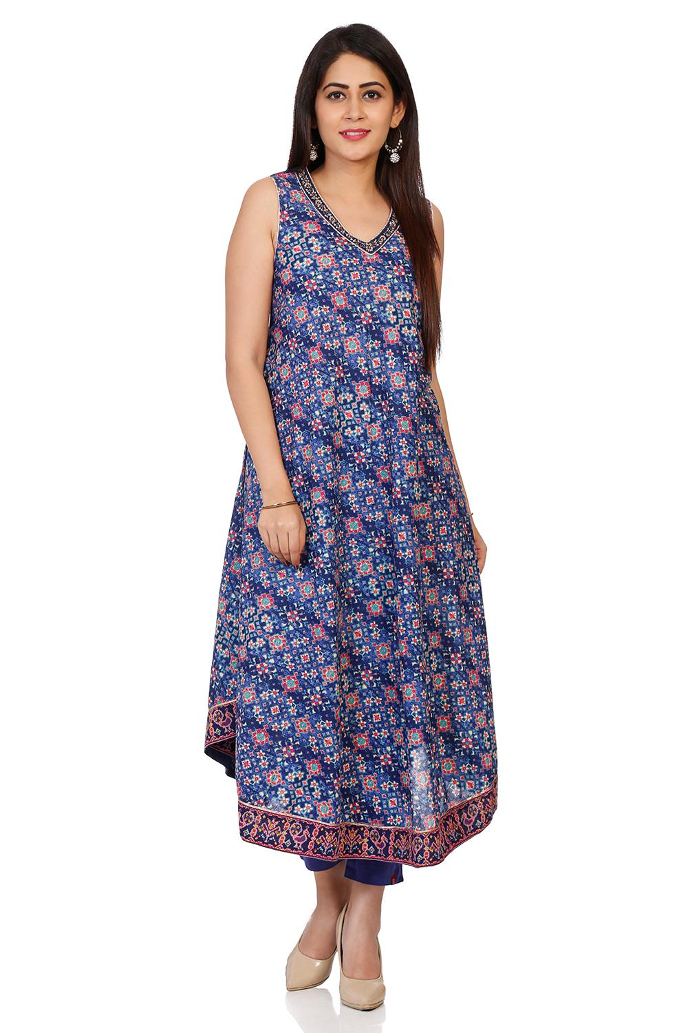 Red-Indigo Cotton Flared Dresses - INDIGO14145AW18