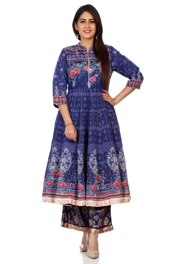Indigo Art Silk Anarkali Kurta - INDIGO14151AW18IN
