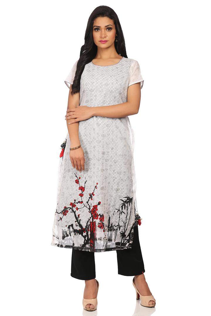 White & Black Flared Cotton Kurta - INTOTHE13537SS