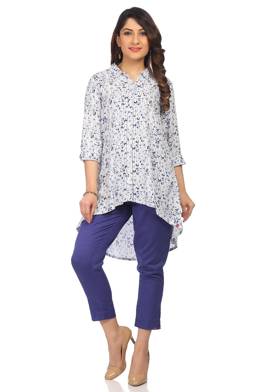 White & Indigo A-Line High Low Viscose Kurta - ISL