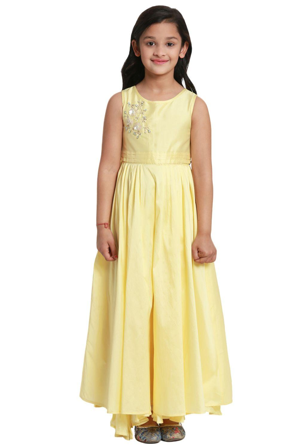 Yellow Anarkali Viscose Dress - KW2651SS18YEL