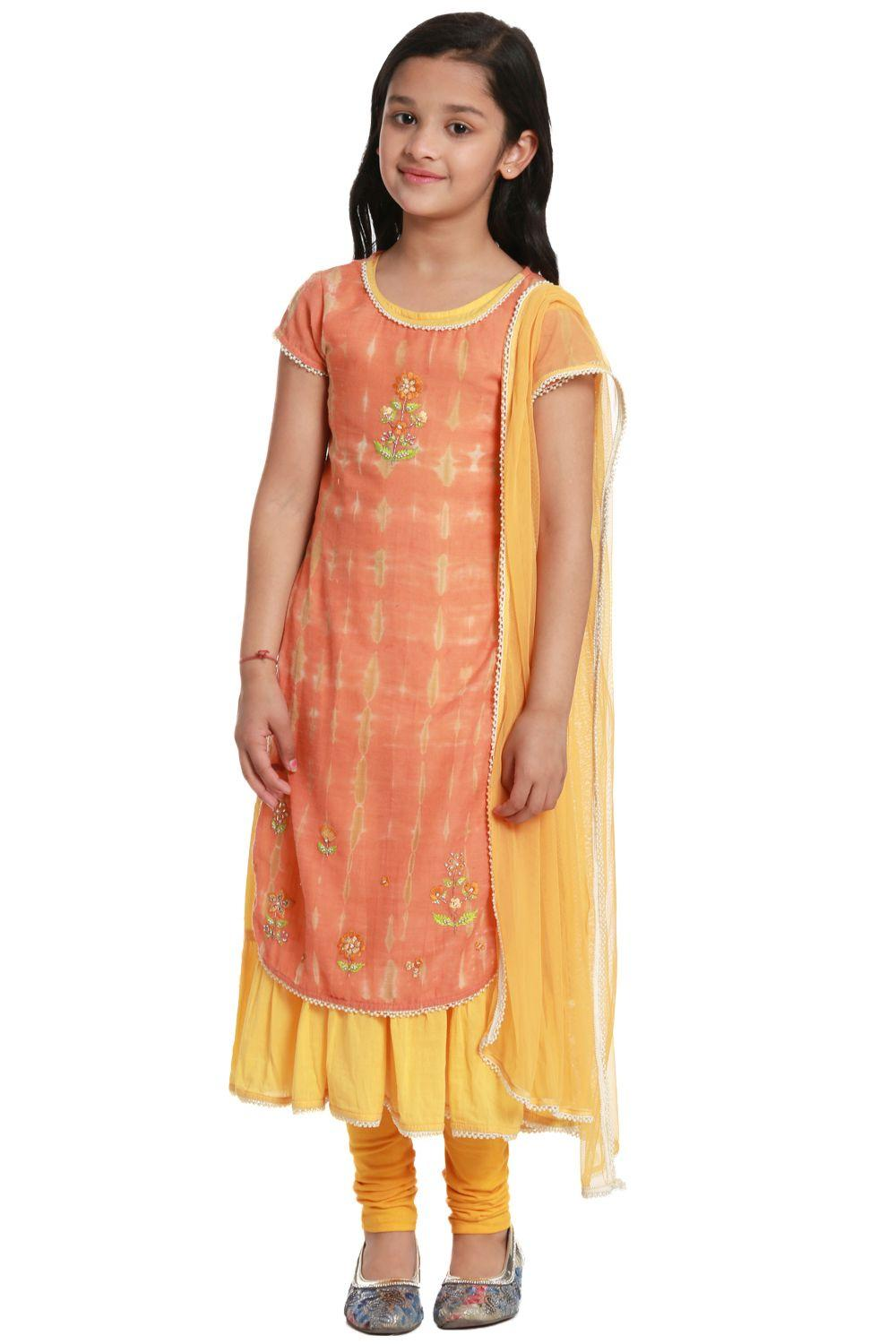 Peach Straight Poly Cotton Suit Set - KW2687SS18PC