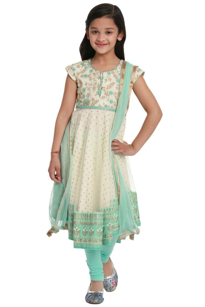Off White Anarkali Cotton Suit Set - KW2695SS18OWH