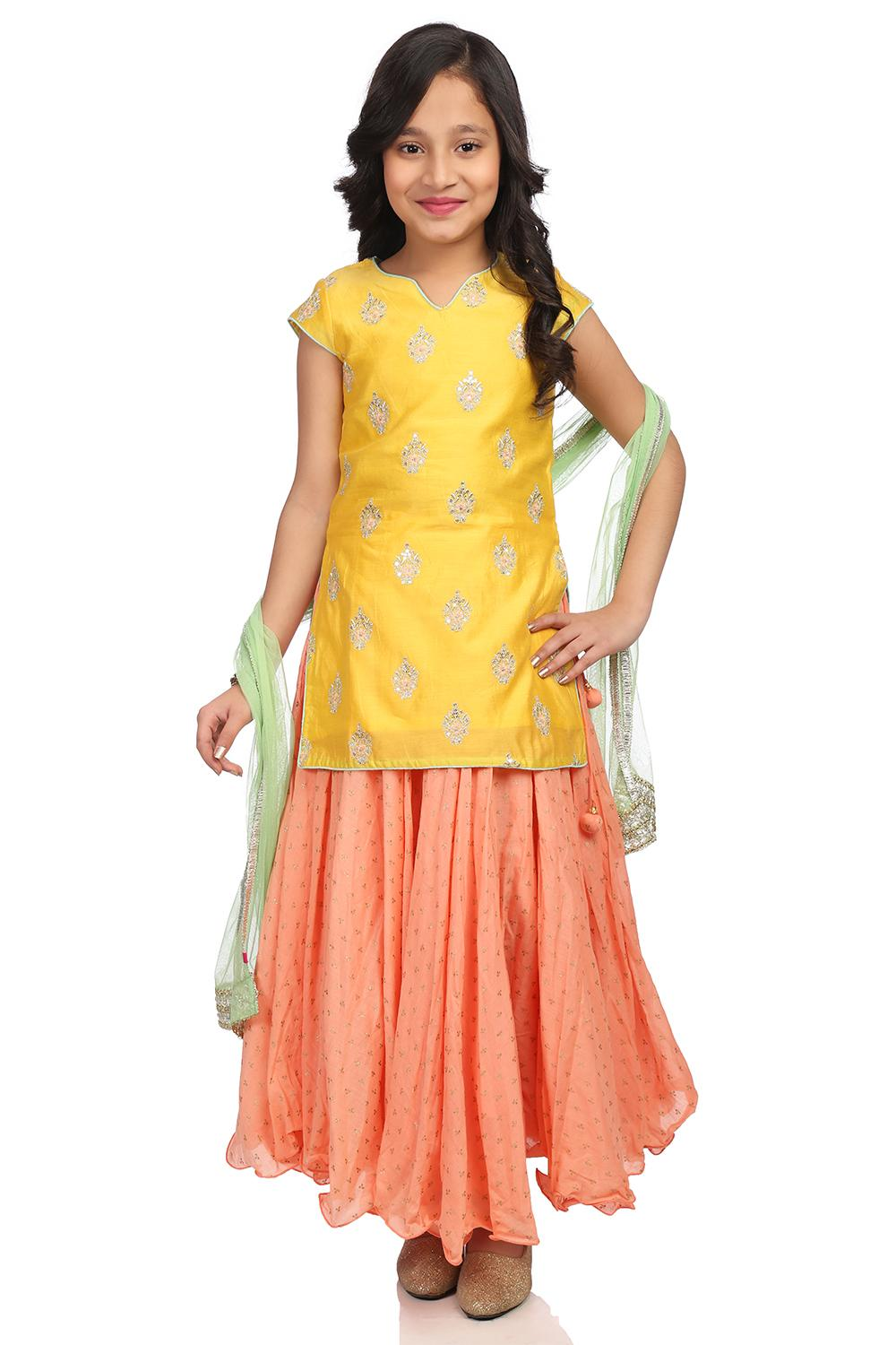 Yellow Straight Cotton Silk Suit Set - KW2703SS18Y