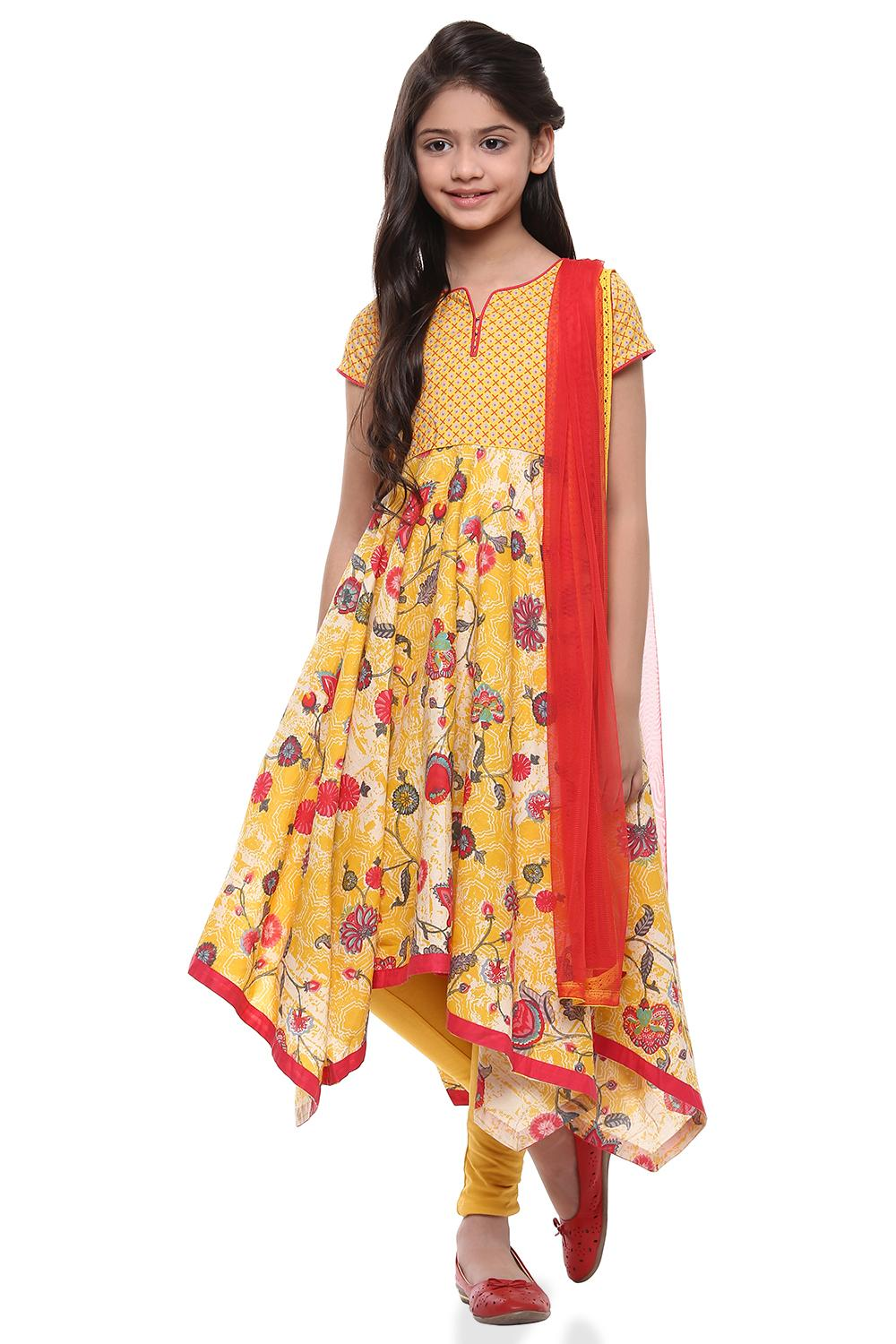 Yellow Asymmetric Cotton Suit Set - KW2765SS18YEL