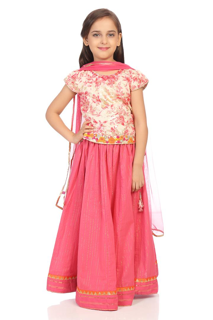 Pink Straight Cotton Lehenga Set - KW2785SS18PNK
