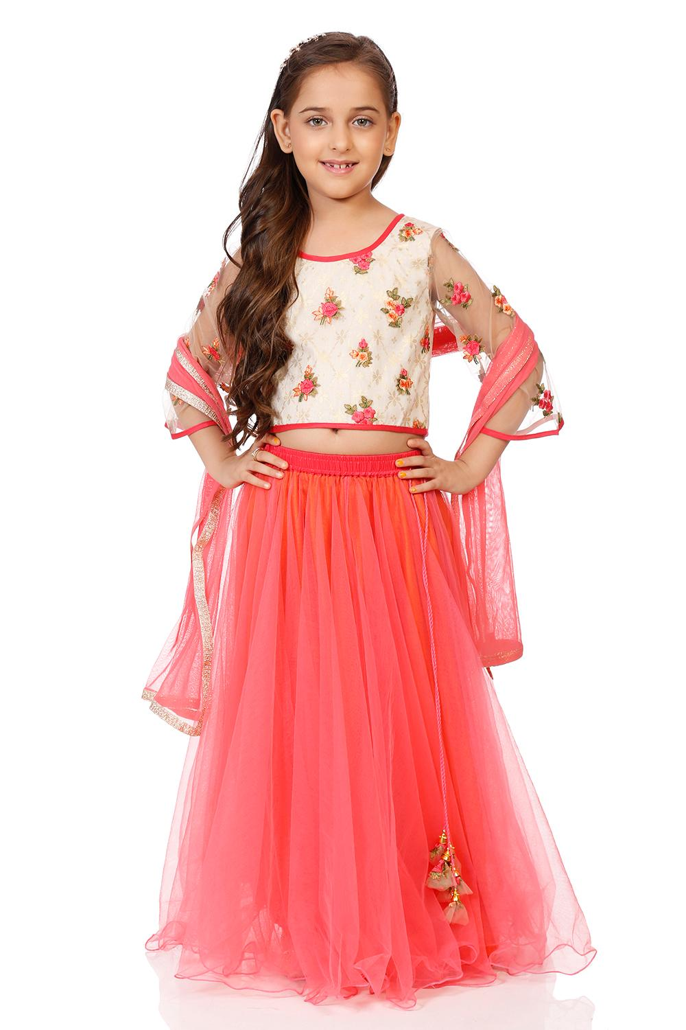 Off White & Coral Nylon Straight Lehenga Set - KW2