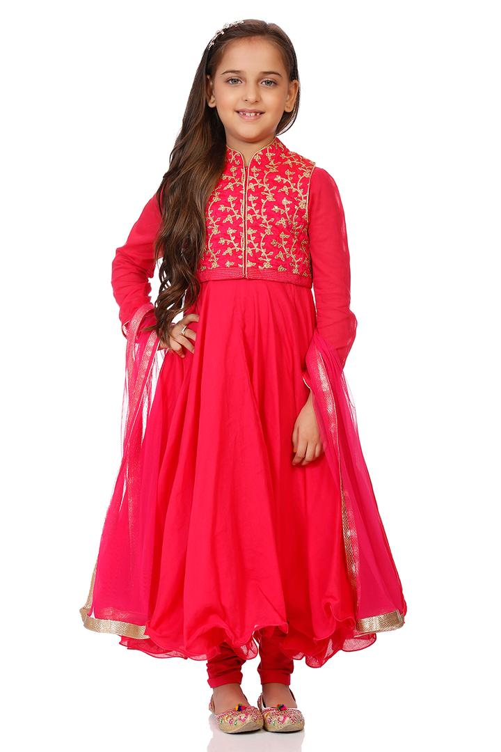 Pink Cotton Anarkali Suit Set - KW2816AW18PNK