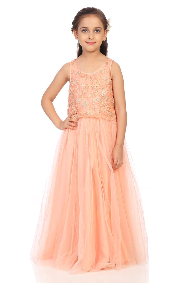 Peach Nylon Anarkali Dresses - KW2823AW18PCH