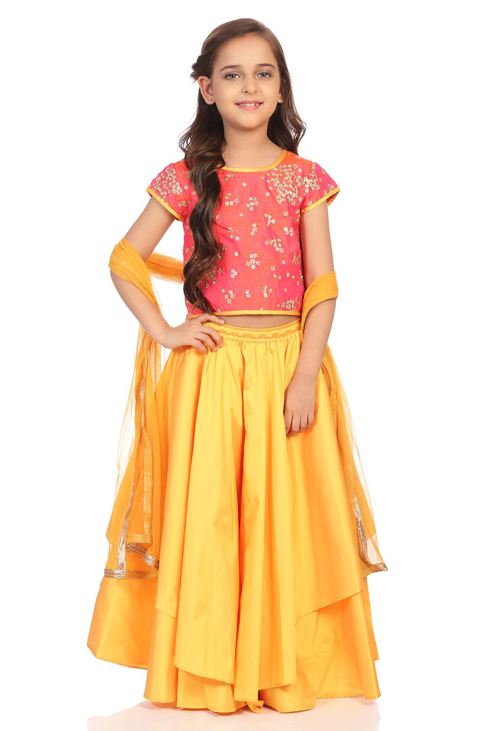 Coral & Yellow Art Silk Straight Suit Set - KW2829