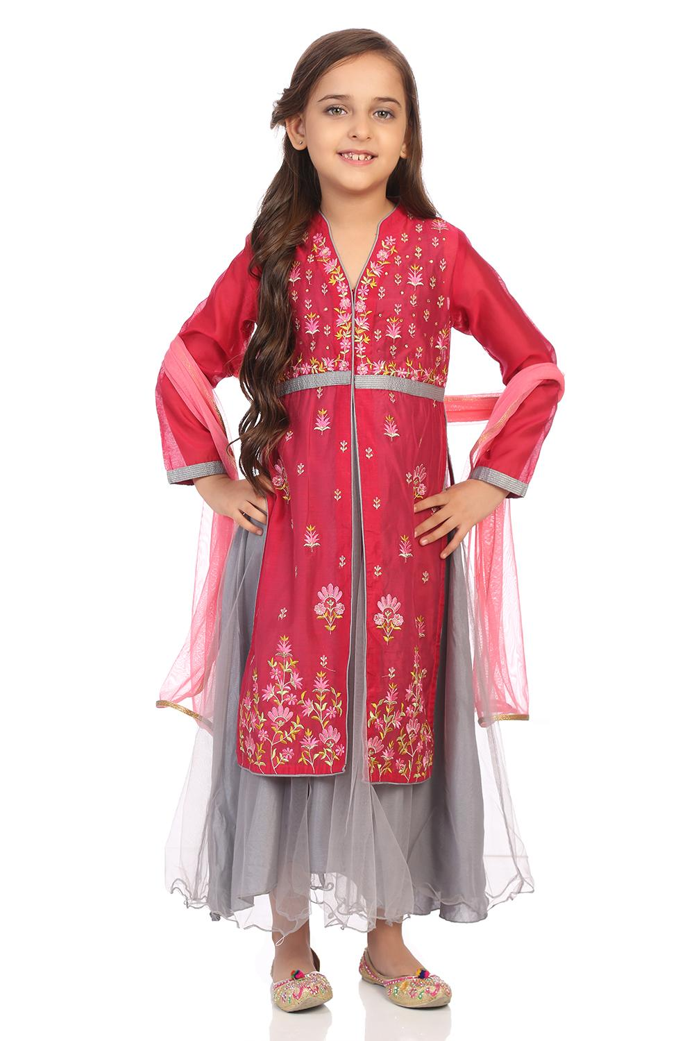 Dark Pink Poly Cotton Straight Suit Set - KW2848AW