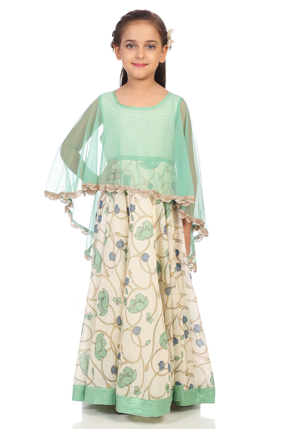 Off White Poly Cotton Anarkali Dress - KW2962AW18O