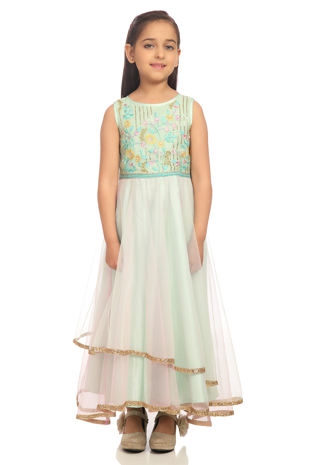 18c59423cd2f12 Buy Online Mint Green Anarkali Nylon Dress for Women   Girls at Best ...