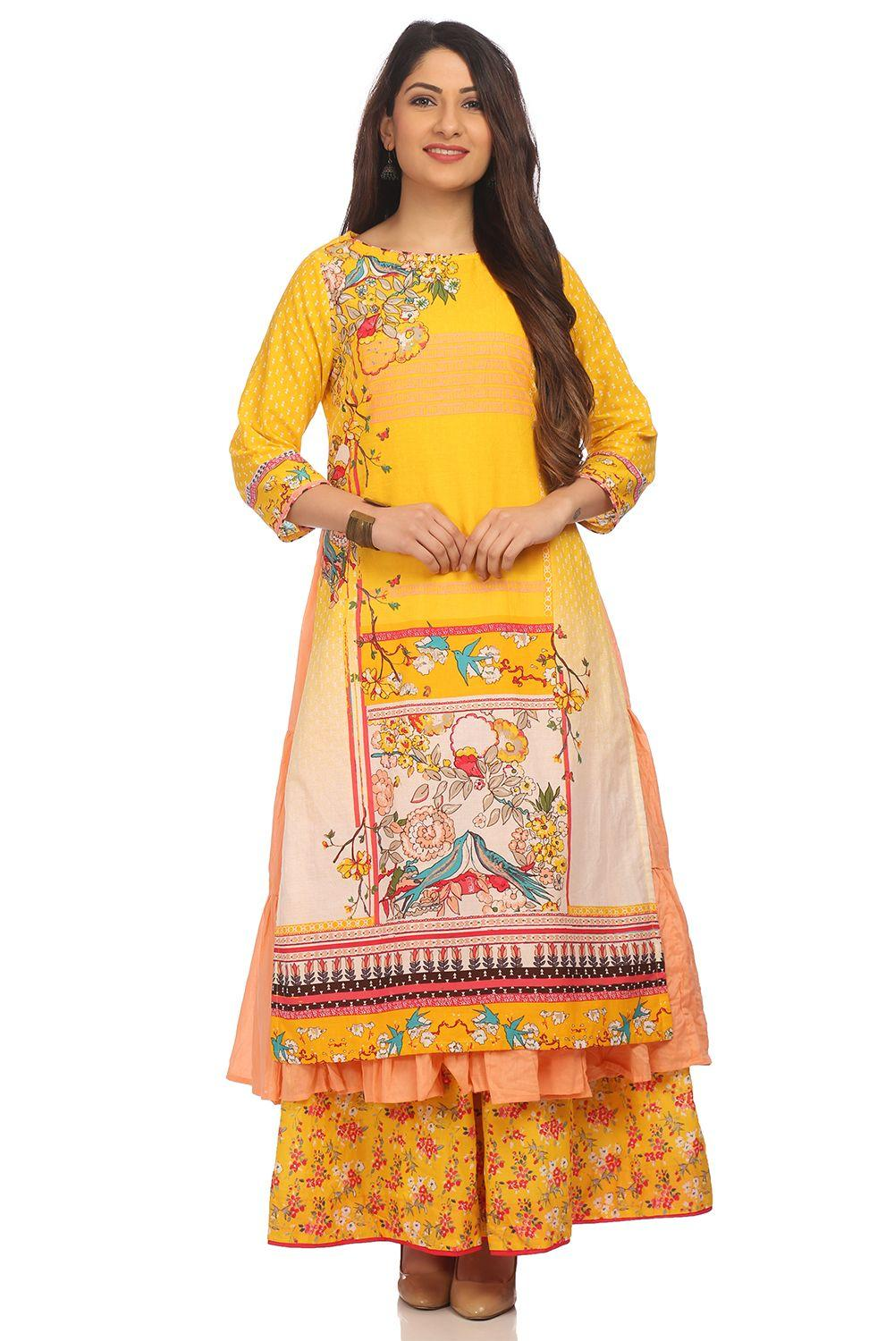 Yellow Flared Cotton Kurta - LOVEBIR13700SS18YEL