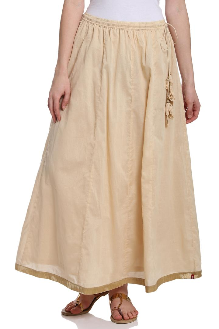 Beige Flared Cotton Skirt - MNMCORE14556SS18BEG