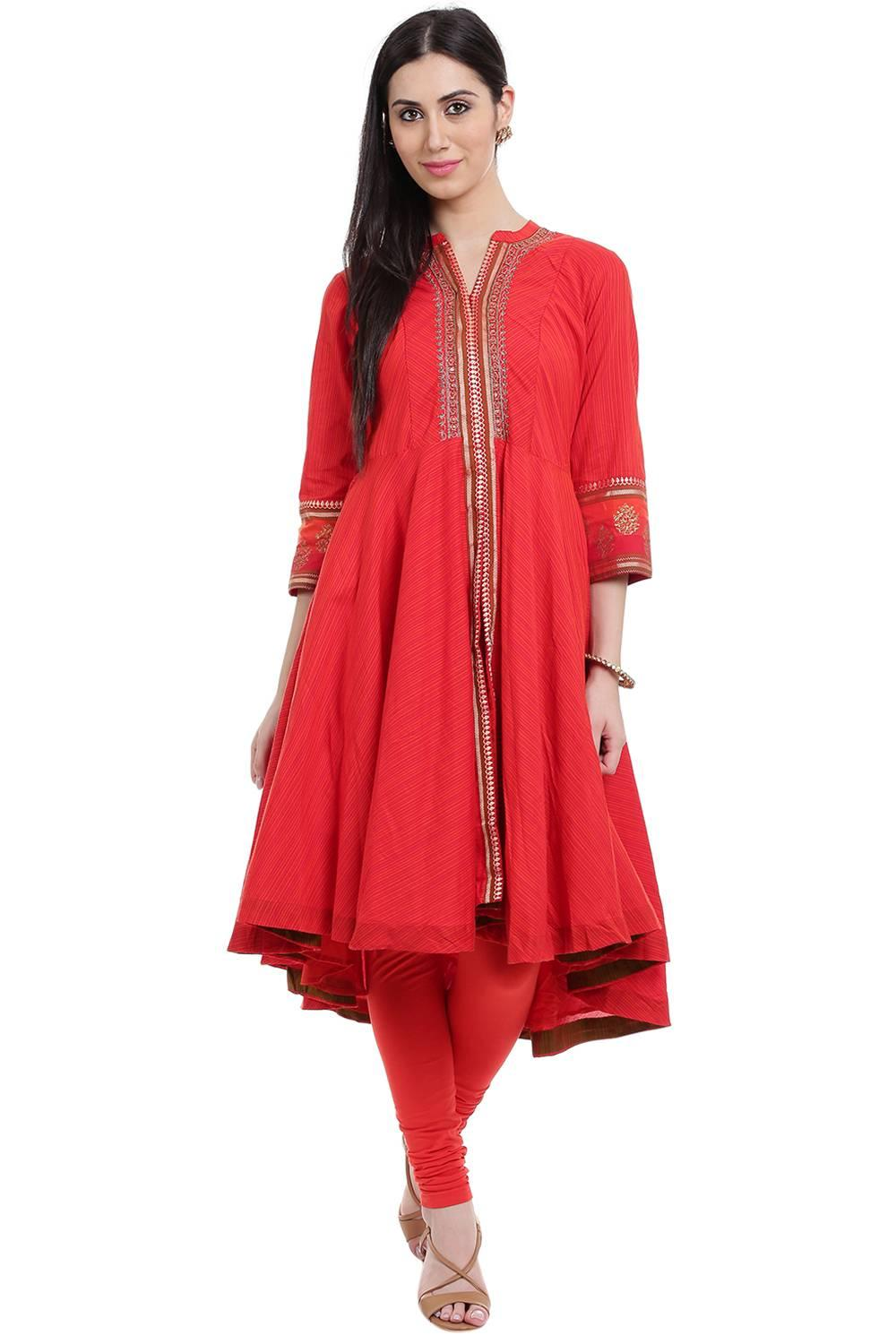Red Asymmetric Poly Cotton Kurta - PUJACOL12864AW1