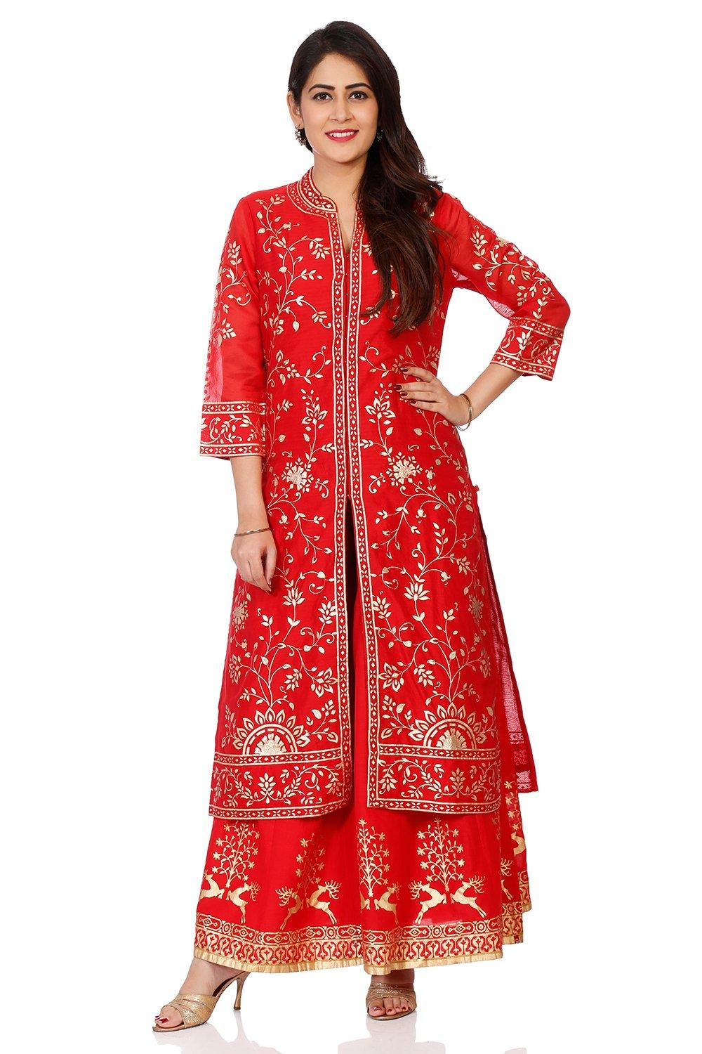 Red Poly Cotton Front Open Kurta - PUJACOL14378AW1
