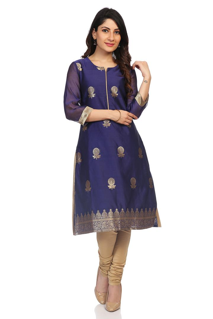 Blue Poly Metallic Cotton Straight Kurta - PUJACOL