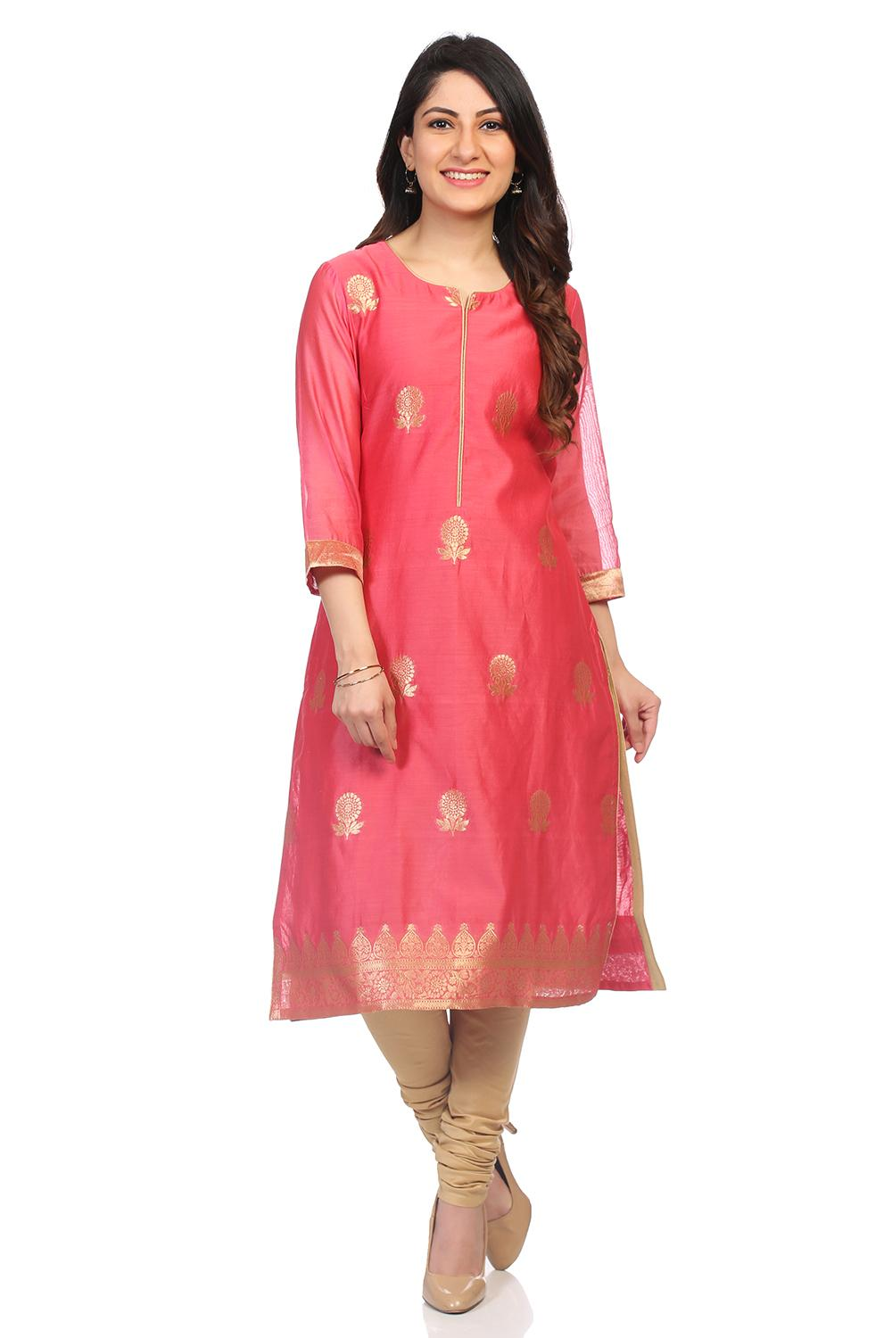 Coral Poly Metallic Cotton Straight Kurta - PUJACO