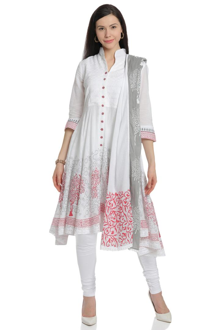 White & Pink Asymmetric Cotton Suit Set - SKD2802S