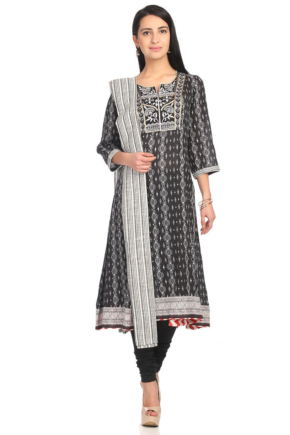 Black Kalidar Cotton Suit Set - SKD4907SS18BLK