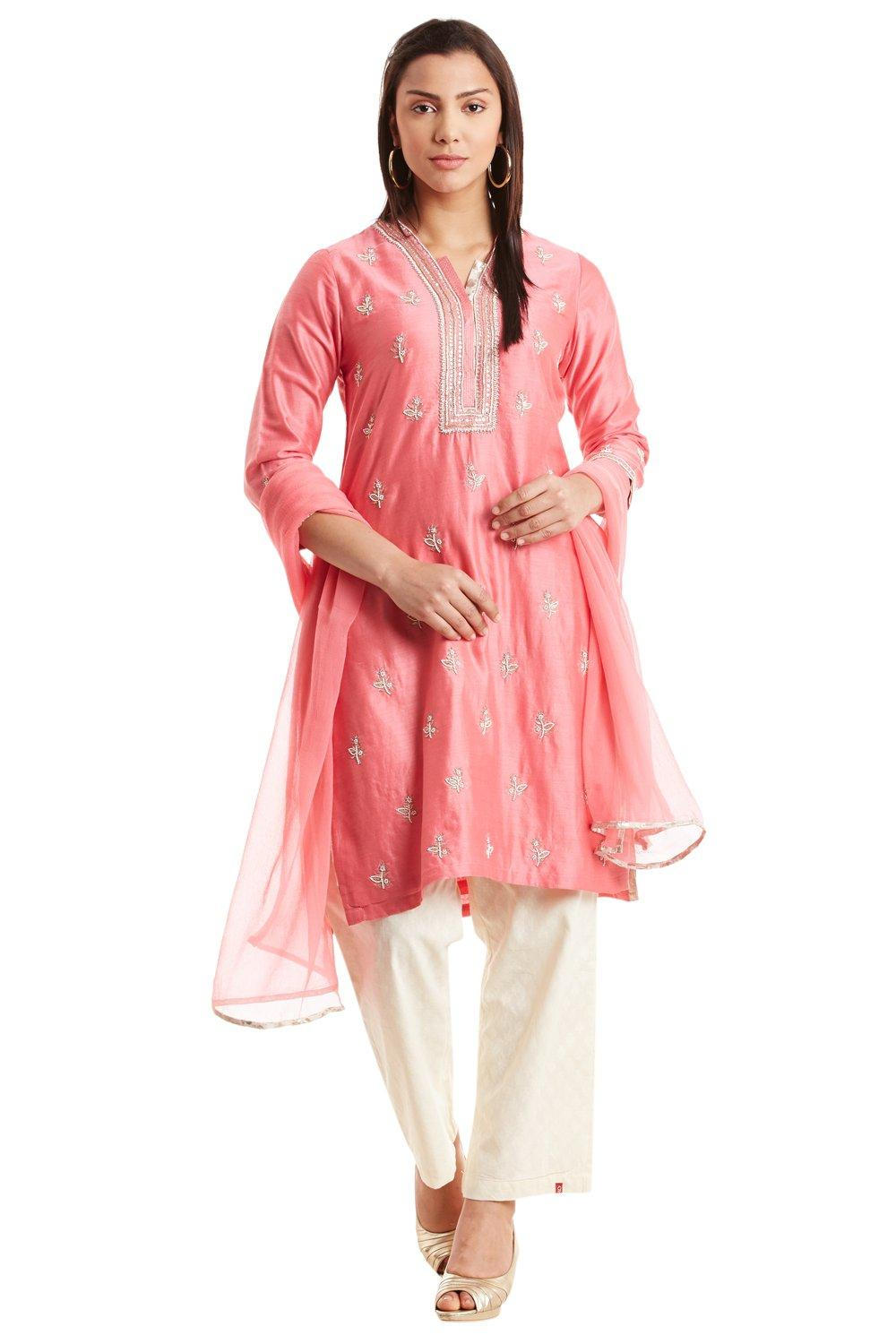 Pink Straight Cotton Silk Suit Set_Large