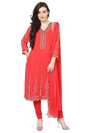 a1c4e1fcf Red Poly Cotton Straight Suit Set - SKD4948RED ...
