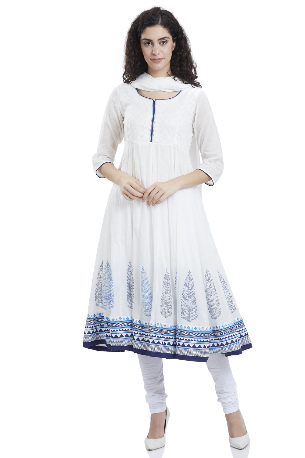 fb78a8ad92d Buy Online Off White Anarkali Cotton Suit Set for Women   Girls at Best  Prices in Biba India-SKD5059
