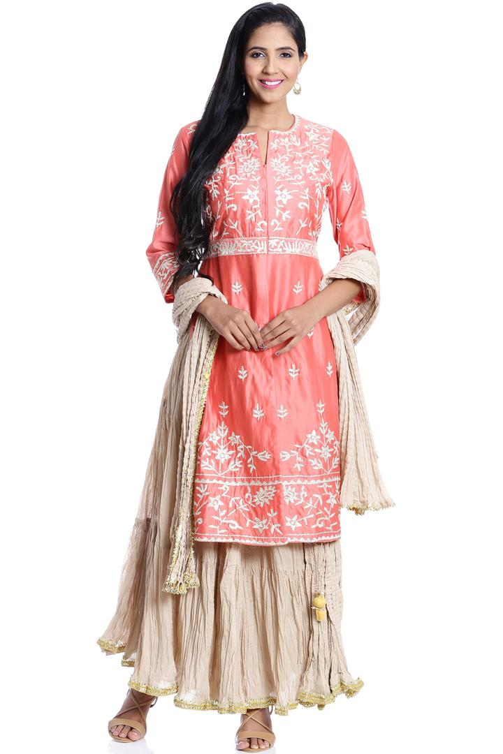 Coral Flared Cotton Silk Suit Set - SKD5148AW17COR