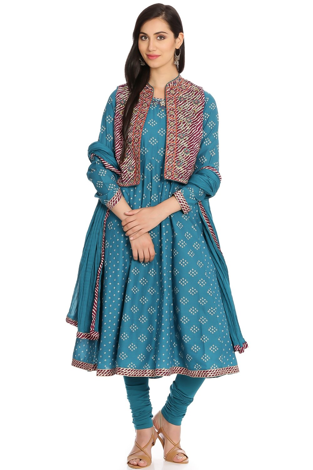 9773c3733a83d Buy Online Biba Turquoise Anarkali Cotton Suit Set for Women & Girls at  Best Prices in Biba India-SK