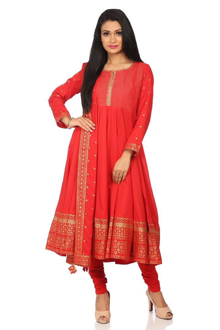 Red Cotton Kalidar Suit Set - SKD5170AW18RED