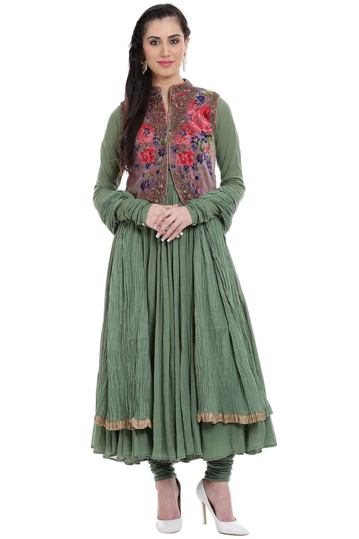 Sea Green Cotton Anarkali Suit - SKD5216AW17SEAGRN