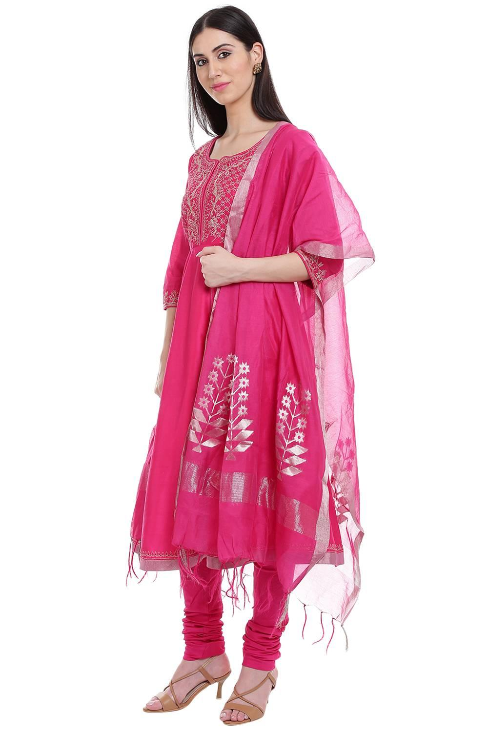 Pink Cotton Silk Anarkali Suit - SKD5231AW17PNK