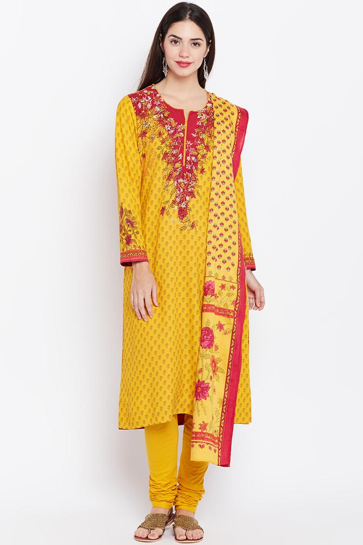 Yellow Straight Viscose Suit Set - SKD5256AW17YEL