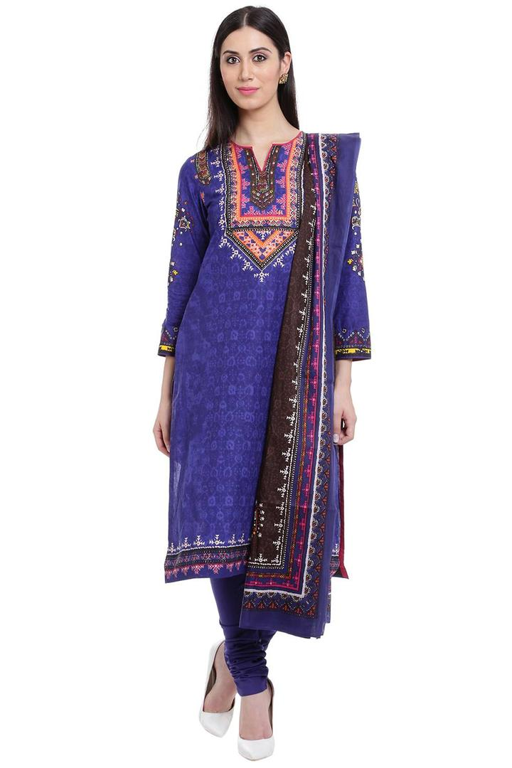 Blue Straight Cotton Suit Set - SKD5299AW17BLU