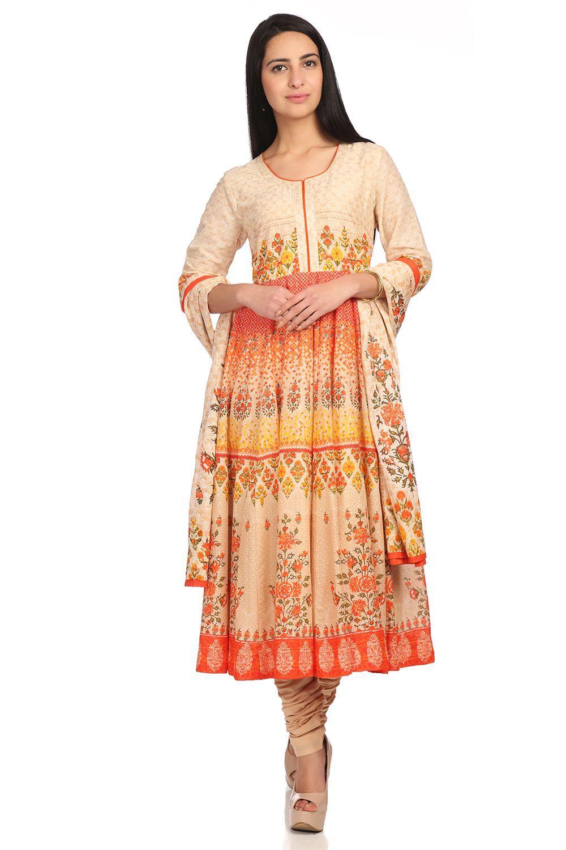 3c6d3112dd Buy Online Beige Anarkali Cotton Suit Set for Women & Girls at Best ...