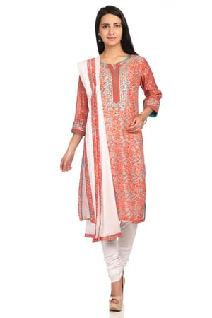 Red Straight Poly Cotton Suit Set - SKD5469SS18RED