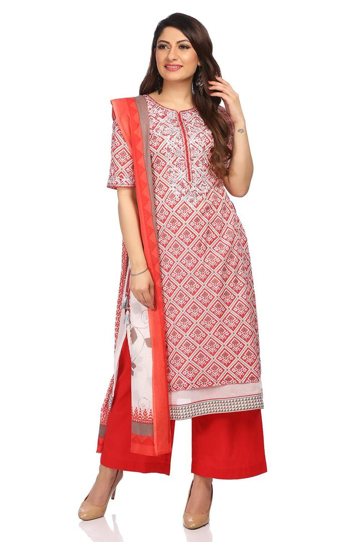Red Straight Cotton Suit Set - SKD5488SS18RED