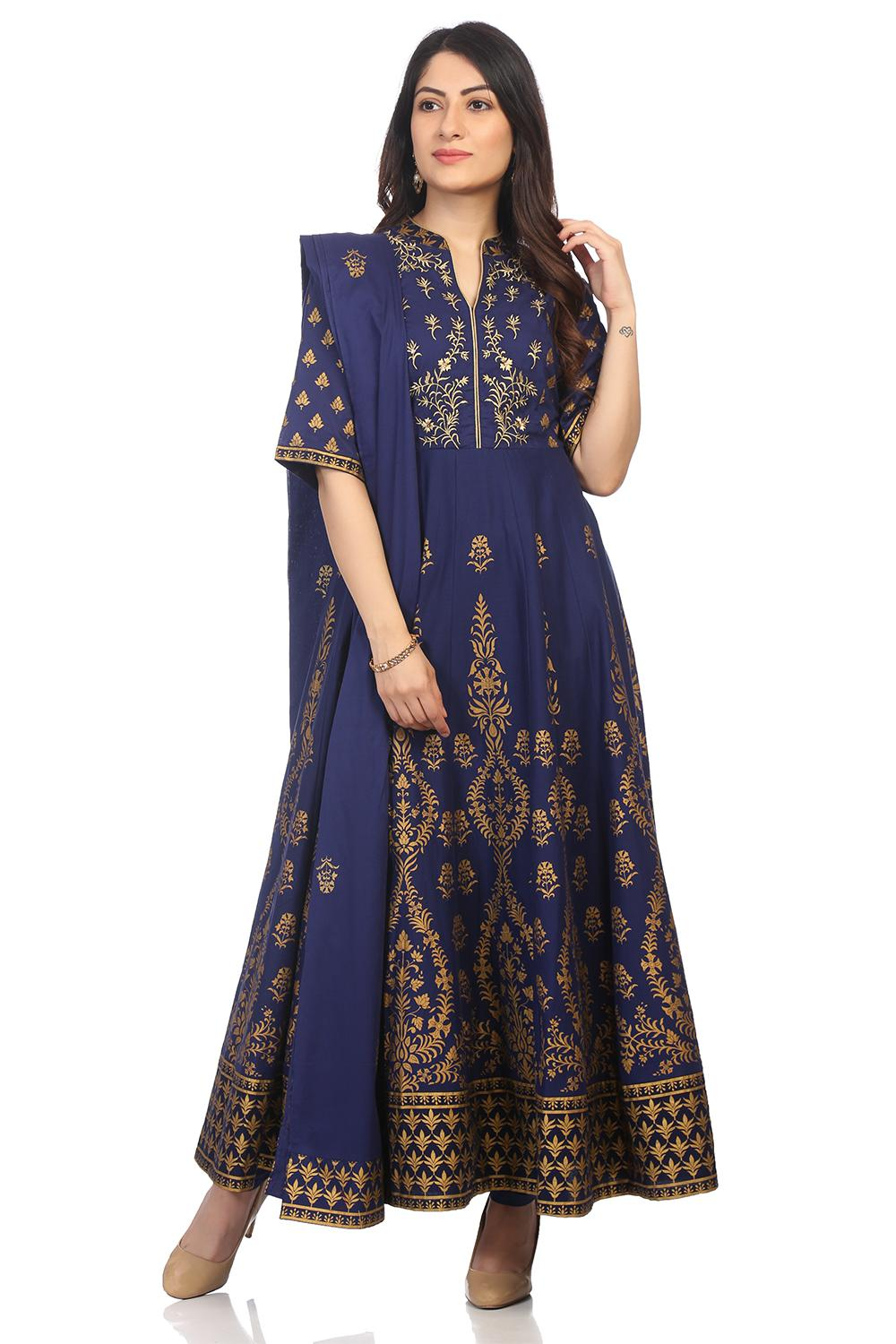 Navy Blue Cotton Anarkali Suit Set - SKD5535AW18NY
