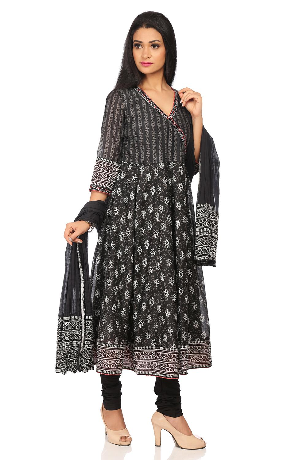 Black Art Silk Anarkali Suit Set - SKD5548AW18BLK