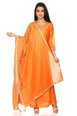 Orange Poly Cotton Straight Suit Set - SKD5560AW18