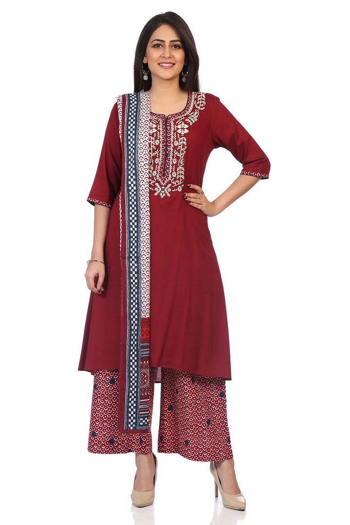 Maroon Viscose Asymmetric Suit Set - SKD5562AW18MR
