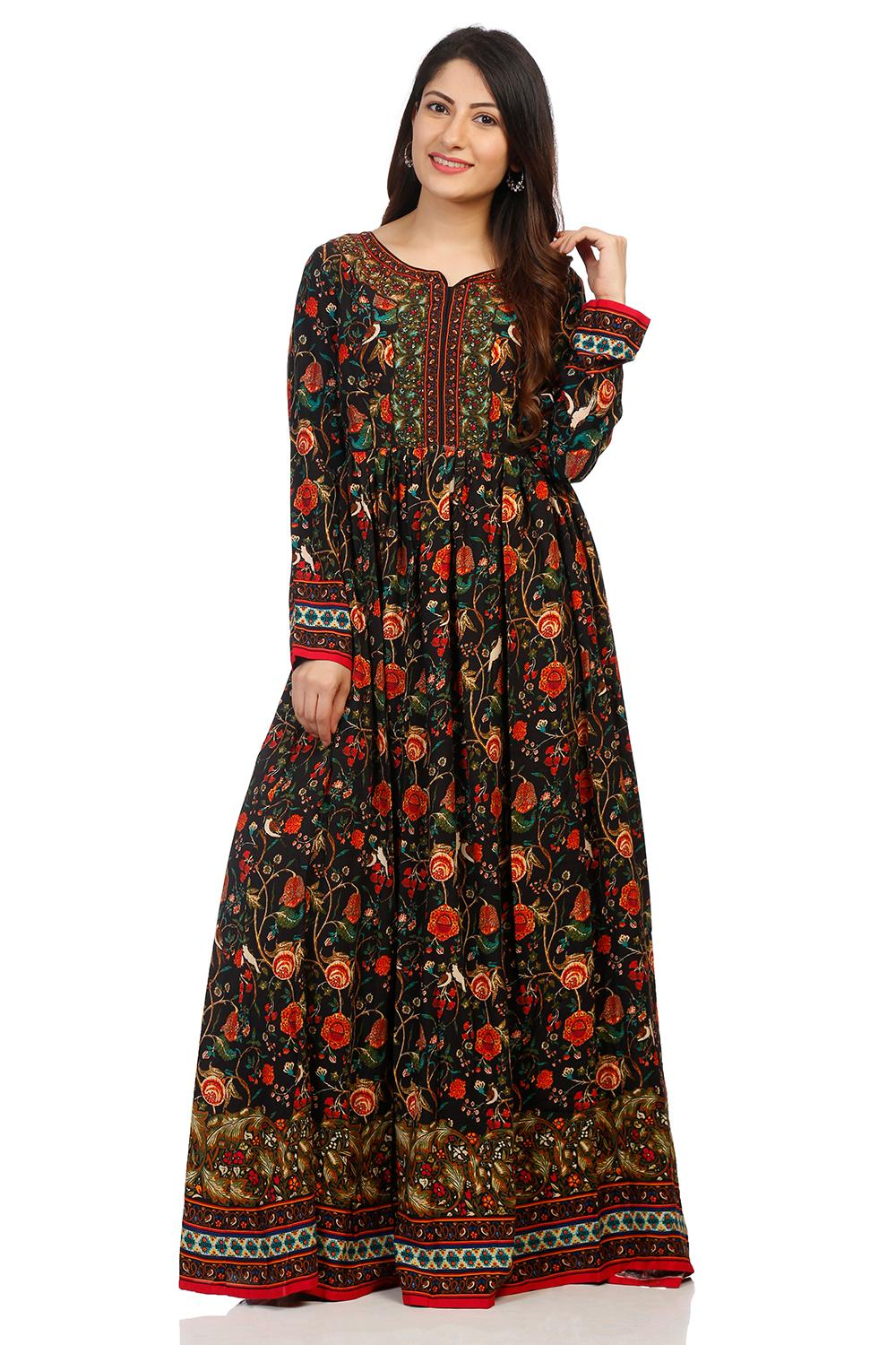 Black Viscose Anarkali Suit Set - SKD5704AW18BLK