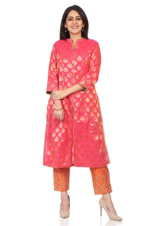 Coral Poly Metallic A-Line Suit Set - SKD5755AW18C