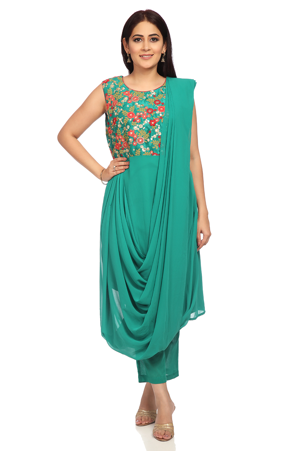 bf45648d8 Buy Online Green Art Silk Saree Kurtas With Cape for Women   Girls at Best  Prices in Biba India-SKD5