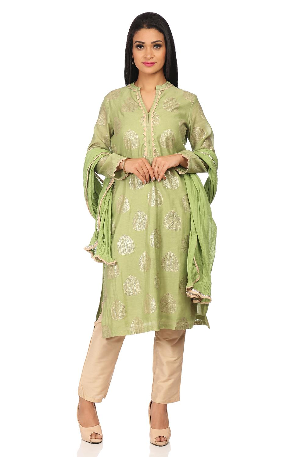 Green Poly Cotton Straight Suit Set - SKD5774AW18G
