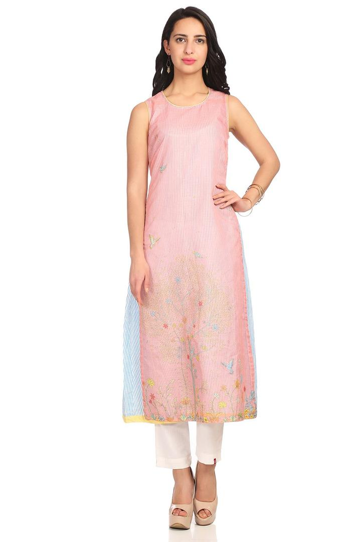 Peach Flared Poly Cotton Kurta - SPRINGF13593SS18P